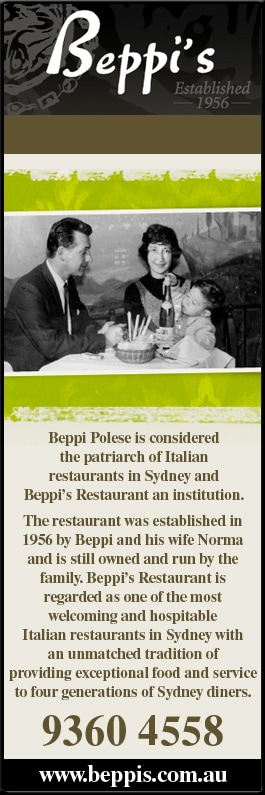 Beppi's Restaurant in East Sydney, NSW under Restaurants banner ad